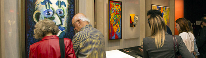People visiting an exhibition