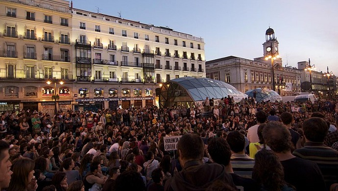 Protest of the Indignados movement in Madrid