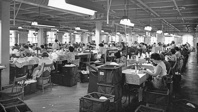 Sewing room of the Dominion Corset, between 1960 and 1970